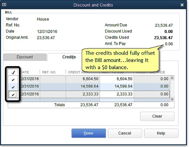 Discounts and Credits