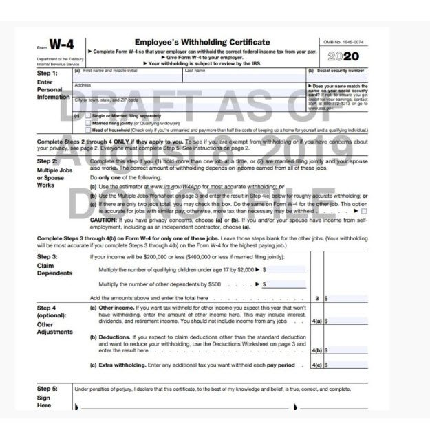 IRS Announces New W-4 Form For 2020