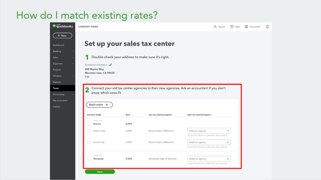 2019 QBO Sales Tax Changes - Hybrid Experience Change-over Step 2A
