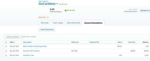 Xero GoCardless account