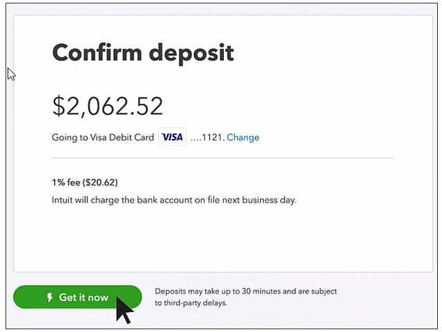 quickbooks instant deposits