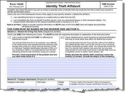 IRS Form 14039