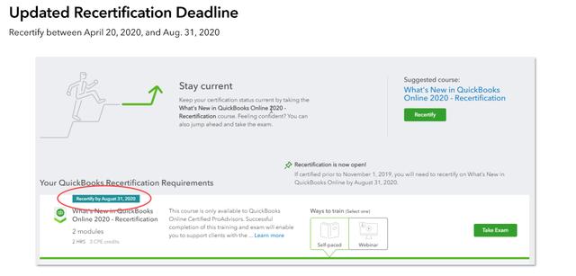 2020 Updated Recertification Deadline