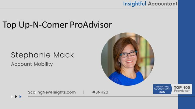Stephanie Mack - 2020 Top Up-N-Comer ProAdvisor