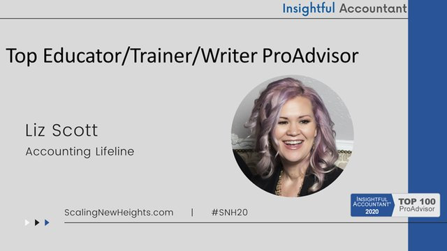 Liz Scott - 2020 Top Educator/Trainer-Writer ProAdvisor