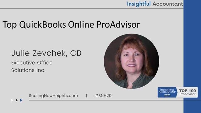 Julie Zevchek - 2020 Top QuickBooks Online ProAdvisor