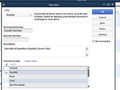 QBES-15 New Sub-total Items for Transaction Columns
