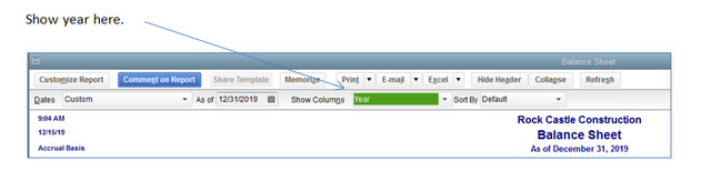Customize Show Columns on Balance Sheet