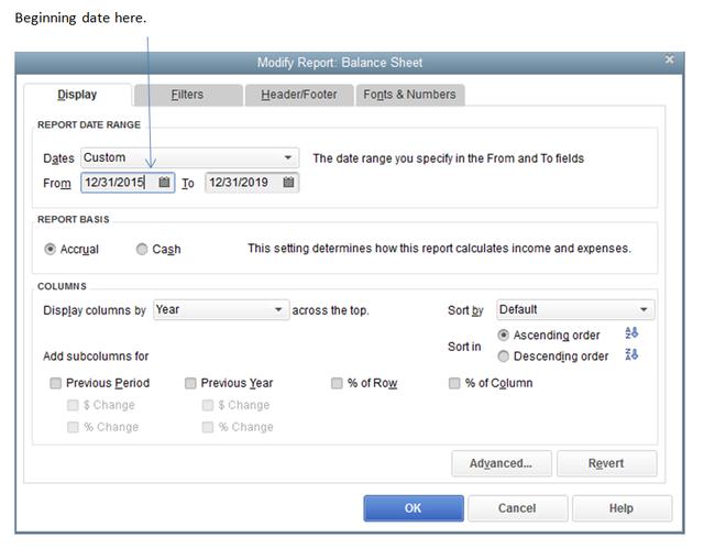 Customize Balance Sheet