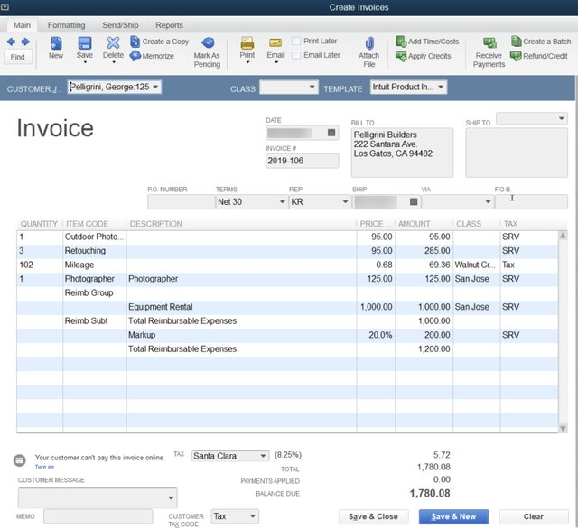 Pass-through Expenses on one invoice