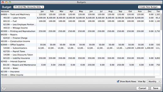 how to create a budget in quickbooks