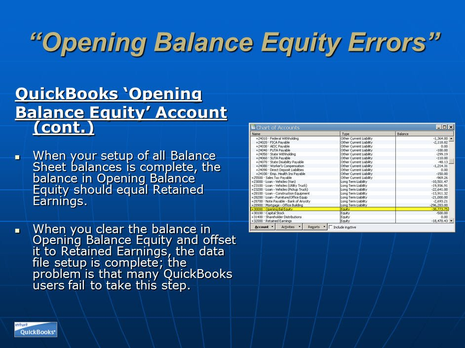 Same Old Problems - Opening Balance Equity ...