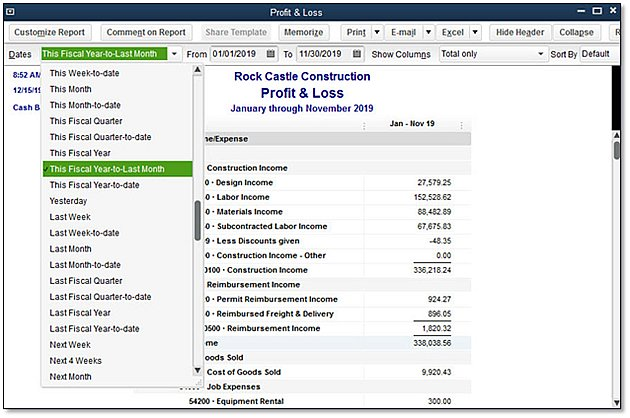 """QuickBooks 2016 - Feature Minute: New """"Fiscal Year-to-Last ..."""