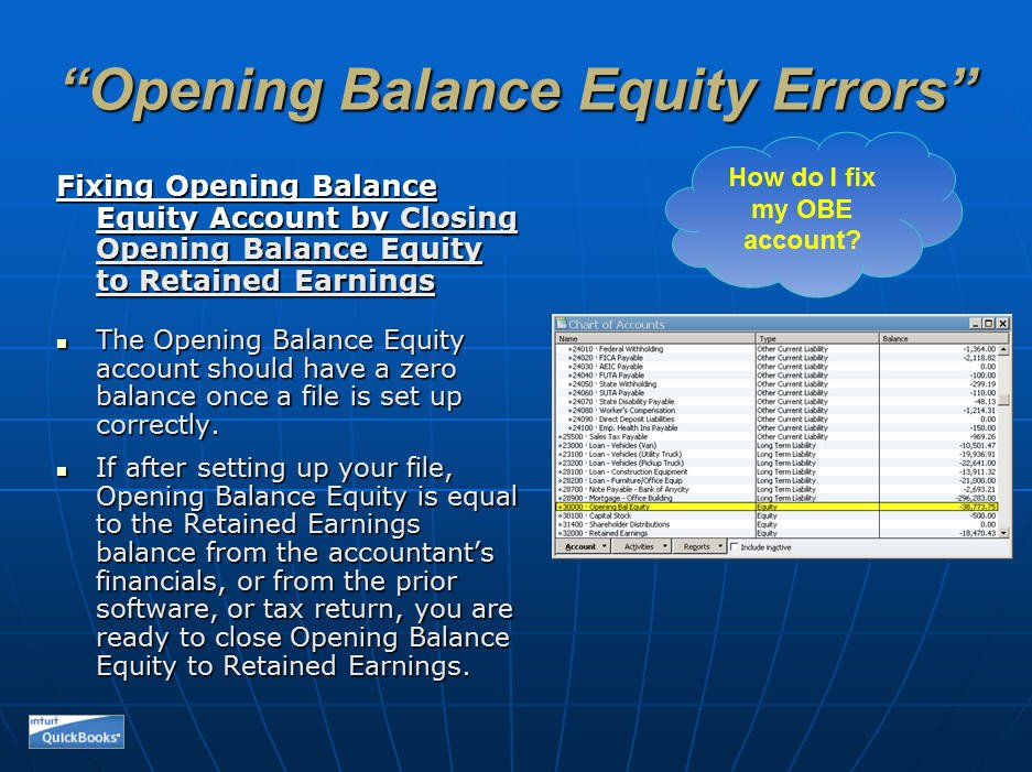 Same Old Problems Opening Balance Equity
