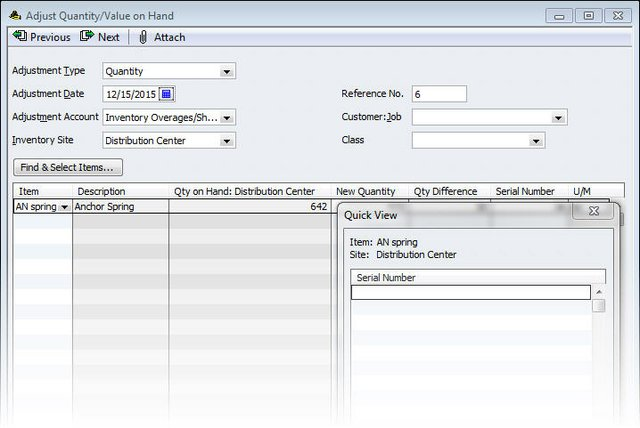 QBES Serial Number Input
