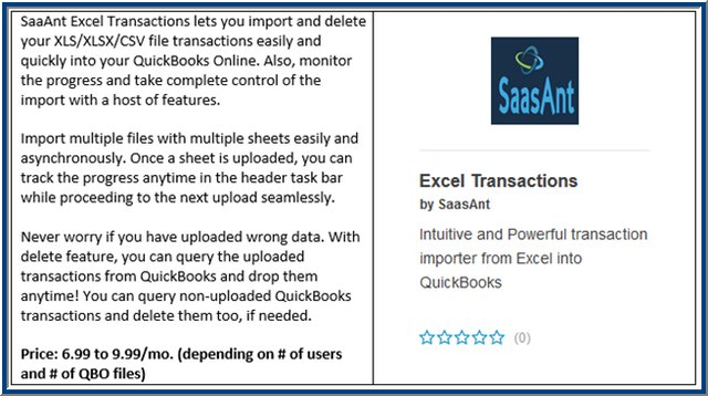 Excel Transactions QBO App