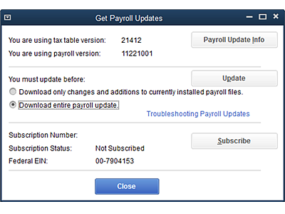 QuickBooks Payroll Update