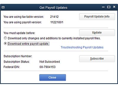 QuickBooks Payroll Update