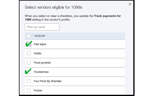 QBO 1099 Vendor Selection