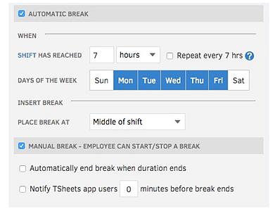 TSheets Implements Manual Break Option