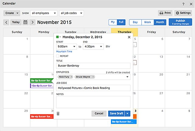 TSheets Real-time Scheduling Display