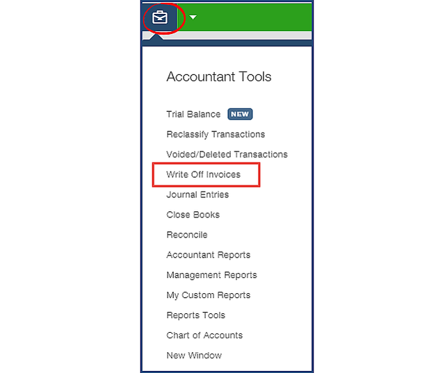 QBOA Accountant Tools Write-off