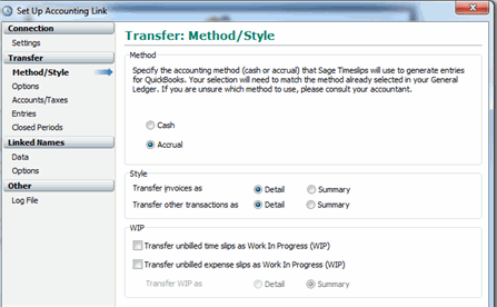 Timeslips - Options for transfer to QuickBooks