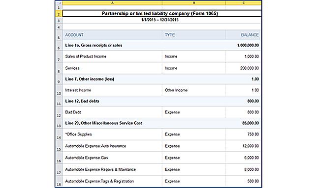 QBOA Trial Balance - spreadsheet