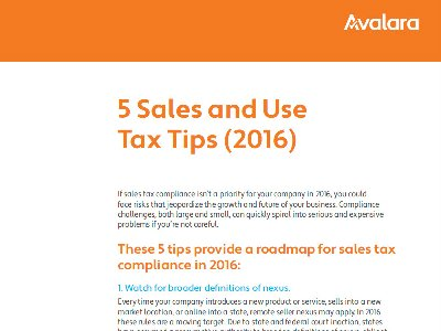 5 Sales & Use Tax Tips For 2016