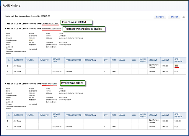 QBOA - Tools Audit History