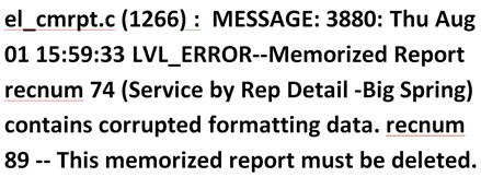 Memorized Report Error