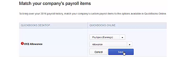 Migrate QBD Payroll Items to QBO