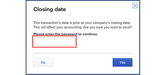 Password Prompt for Closed Transaction