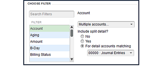 TJW Adjusting Report Filter Options