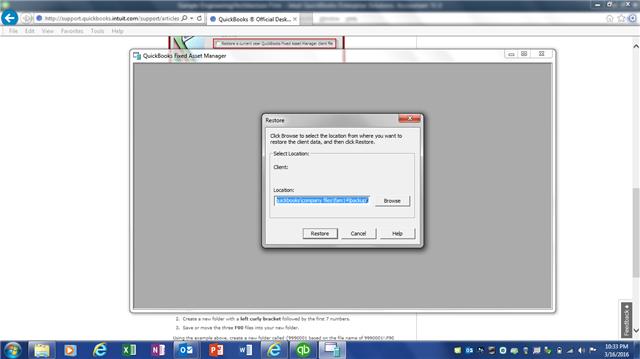 Select FAM file to restore