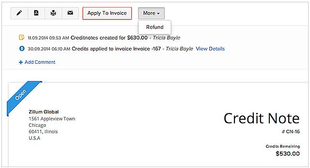 Apply Customer Credits in Zoho Books