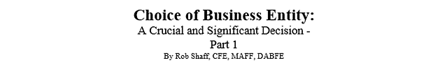 Business Entity Choice - Part 1 Title
