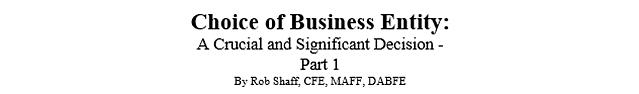 Business Entity Choice - Part 1 Title