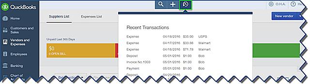 QuickBooks Online Recent Transactions