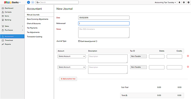 Zoho New Journal entry