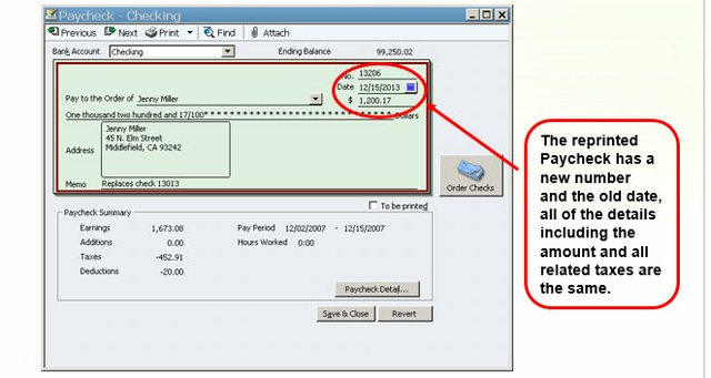 Replace Payroll Check Step 3