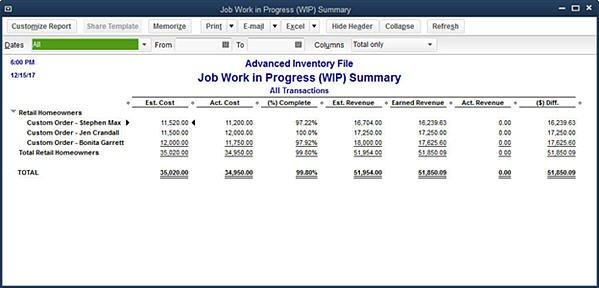Slide 6 - New (QB 2014) Job Work in Progress (WIP) Summary Report