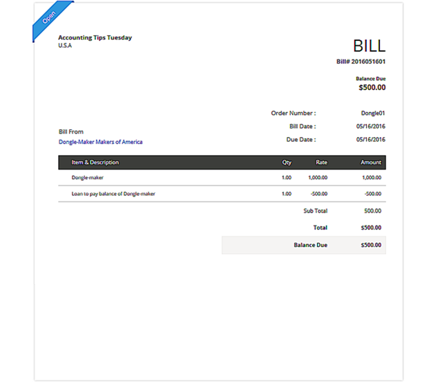 Record the Vendor Bill