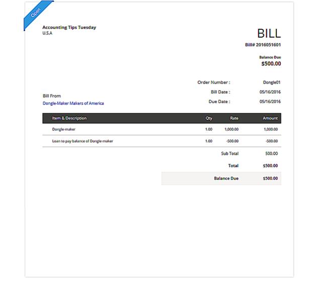 Record the Vendor Bill