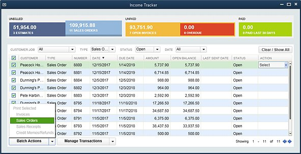 Slide 3 - New QuickBooks 2014 Income Tracker Batch Actions