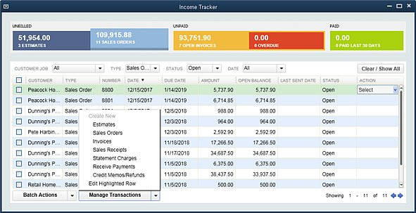 Slide 4 - New QuickBooks 2014 Income Tracker Manage Transactions