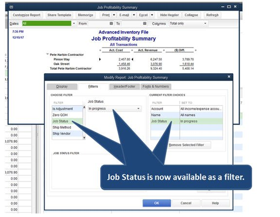 Slide 2 - QuickBooks 2014 Job Costing - Job Status Filter