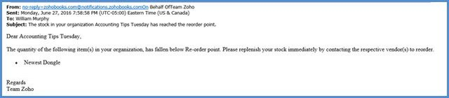 Inventory Reorder Email