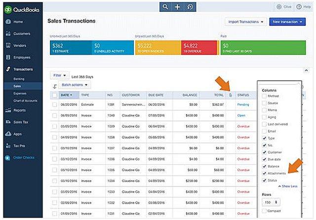 Sales transaction list attachment option
