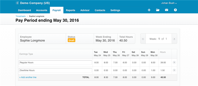 Xero payroll from Tsheets time